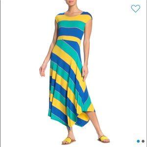 Striped Cap Sleeve Asymmetrical Midi Dress!